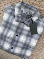 "ALL SAINTS LIGHT GREY ""HALLECK"" CHECK LONG SLEEVE SHIRT TOP - XS S - NEW & TAGS"
