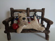 New listing Hand Sculpted Art~*~Soft Coated Wheaten Terrier On Patriotic Bench Art Figurine
