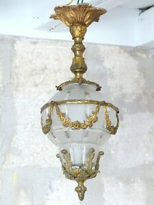 """20"""" Gorgeous French Hall Lantern 19TH Chandelier Ceiling Gilded Bronze"""