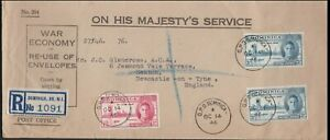 """1946 OHMS DOMINICA Peace FDC Cover Registered to GB  """"War Economy Envelope"""""""