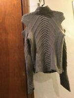 Delphine Wilson England 100% Cashmere Size L Olive Cut Shoulder Sweater Women