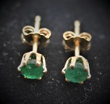 14K Yellow Gold ~.40 CTW Natural Round Colombian Emerald Stud  Pierced Earrings