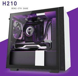 NZXT H210 Matte White/Black Mini ITX ATX Case, T/G Side Window, No PSU (as new)