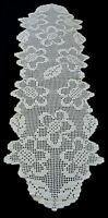Crocheted table runner Vintage Beige Floral Dresser Scarf Rustic Farmhouse