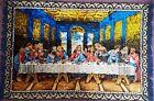 "Vintage Jesus The Last Supper Rug Tapestry Large Plush excelent conditi 66"" x46"""