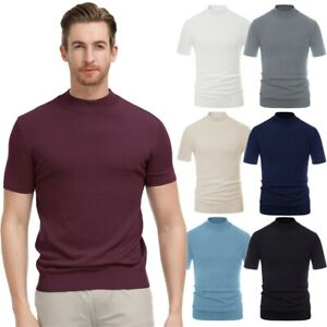 Autumn Shirt T-shirt Short sleeve High neck Knitted Solid Tops Outdoor