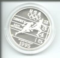 Münze USA Atlanta 1996 Olympiade 1 Dollar Leichtathletik 26,73 g Silber PP