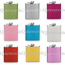 GLITTER BLING HIP FLASK Stainless Steel Blue Green Pink Purple Red Silver Yellow