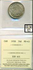 1938 Canada 50 Cent ICCS MS-63