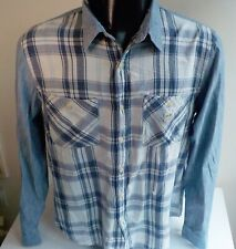 Denim & Supply Ralph Lauren Chambray and Plaid LS Shirt Large Off White/ Blue