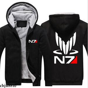 Game Mass Effect N7 Zip Sweatshirt Casual Sweater Boys Jacket Coat Thick Hoodies