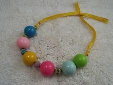 Fat Pastel Bead Yellow Ribbon Necklace (C7)