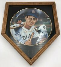 """1987 Ted Williams Sports Impressions Gold Edition Collector's Plate 10"""" & Frame"""