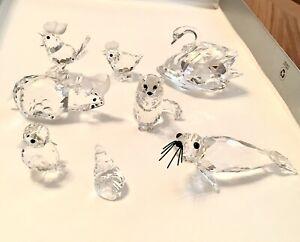 Swarovski Crystal Figurines - Vintage Lot of 8 - Swan Rhino Seal Rooster Animals