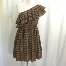 Urban Outfitters Ya Los Angeles Brown Print One Ruffle Shoulder Dress L