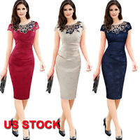 Womens Elegant Vintage Casual Patchwork Bodycon Office Work Pencil Dress S-3XL