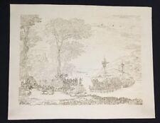 Fredrick C & G. Lewis Etching after Claude Lorrain Drawing Landscape Ships