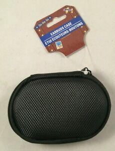 Earbuds Case - Hard Sides - Zipper - Earbud/Cord Storage - Oval - Black