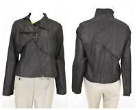 Womens Sarah Pacini Asymmetric Black Jacket Cotton Full Zip Size 2 / M
