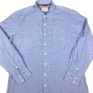 Thomas Pink Mens Long Sleeve Blue Striped Button Up Shirt Size XL