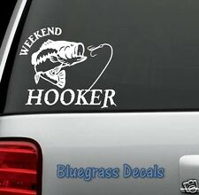 A1147 BASS FISHING HOOKER DECAL STICKER CAR TRUCK LAPTOP SUV BOAT TRAILER LURE