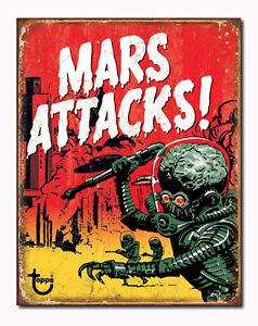 A3 Retro Tin Metal Sign 'MARS ATTACKS' Vintage Trading Card Memorabilia Licensed