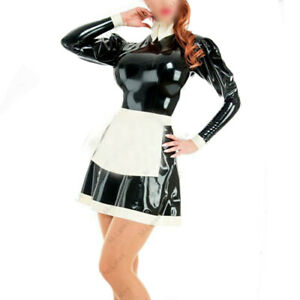Rubber Latex Kleid Gummi Clubwear Cosplay Maid Schwarz Weiß Uniform Dress 0,4mm