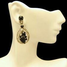 Vintage Clip Earrings Mid Century Black Rhinestone Teardrop Dangle Unique Design