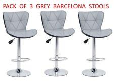 3 x BARCELONA GREY Bar Stools Barstool Kitchen Pub Stools Breakfast Bar Chairs