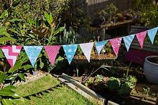 Modern Bunting handmade fabric 15 flags - Aqua and pink garland flags
