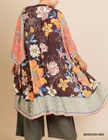 Umgee Plus Size Boho Gypsy Floral Long Kimono Cardigan Duster Tunic Top 1X/2X