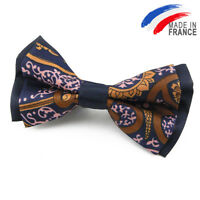 Made in France NOEUD PAPILLON bleu nuit à motif pour homme - Navy Blue Bow Tie