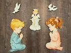 Vintage Praying Children Wall Hanging Decor Nursery Kids Room Angel Doves Sweet