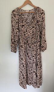 SEED Heritage leopard long sleeve crinkle 8 women's maxi animal print dress