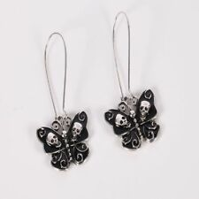 Antique Silver Drop Skull Hoop Jewelry For Women Gothic Dangle Earring