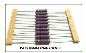 PZ 10 Resistenza 10M Ohm 2W 2Watt 5% STRATO CARBONE A FILO ASSIALE Ø5x15mm