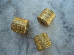3 Stück Perlen Messing Ghana Ashanti Röhre gemustert 13 x 13 mm lost wax method