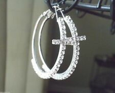 New Cross Crystal Hoop Earrings Silver Plated Crystal Women Pierced 2.5""