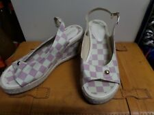 1cb06302ebd4 BNWOT Designer Louis Vuitton Checked Wedge Sandal Size 40   AU 9