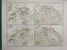 1875 ANTIQUE HISTORICAL MAP ~ SWITZERLAND REVOLUTION ~ ITALY 1500 & 1792