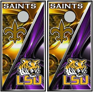 New Orleans Saints & LSU Tigers 0451 cornhole board vinyl wraps stickers gift