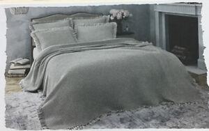 "Wamsutta Vintage Leila Coverlet Grey, 100% Cotton Full 84""x90"", Machine Washable"