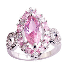 Marquise Cut Pink & White Topaz Gemstone Silver US Ring Size 10 Free Shipping