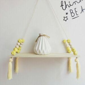 Cute Baby Kids Storage Wood Rope Swing Wall Hanging Shelf Shelves Holder Decor