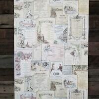 Vintage Victorian Antique Menus Designer French Cottage Kitchen Theme Wallpaper