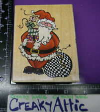 Santa Claus Gifts Bag Happy Rubber Stamp All Night Media Creakyattic