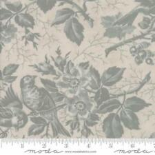 Moda 3 Sisters Quill Floral Bird Toile Fabric in Parchment & Mist 44151-21
