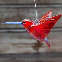 "Glass Hummingbird (Colibri) Bird Animal Figurine, Handmade, Pendant 3.5"""