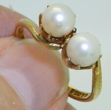 9CT 9mm PEARL RING 2 STONE  Size O 9 CARAT YELLOW GOLD CULTURED PEARLS