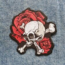 Skull Red Rose Flower Patches Biker Punk Retro Jackets Sign Iron Sew On Patches